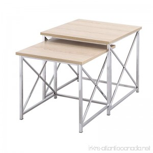 Homebeez 2 Pieces Square Nesting/End/Side Table Set with Wooden Style Top Metal Legs 2 Pieces (Wooden) - B078Z17BX2