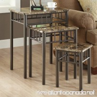 Monarch Specialties Bronze Metal Nesting Table Set with Cappuccino Marble Top 3-Piece - B008V6R04O