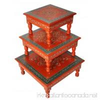 Rajasthani Handpainted Work Design Puja Chowki & Bajot Set Of 3 Pcs Orange Color - B010QJ4884