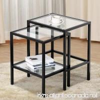 Yaheetech Set of 2Pcs Glass Nesting Tables Living Room Sofa Side End Table Set Black Frame - B077JJP9ZZ