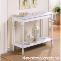 Charming Home Décor Intricately Carved Top Table- Distressed White Wood- Hallway - B01LWY79DT
