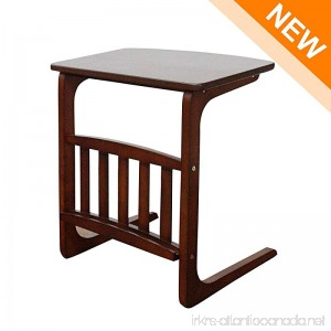 LCH Vintage Snack Side Table Solid Wood End Table for Coffee Laptop Slides next to Sofa Couch Dark Brown - B07CPJWBJ9