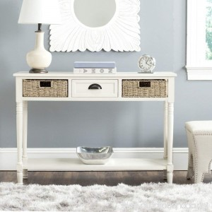 Safavieh American Homes Collection Winifred White Wicker Console Table with Storage - B00NEOG1A2