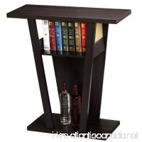 Topeakmart V Console Sofa Entry Table with Two Shelves Hall Furnishings Espresso - B01M1N63EU
