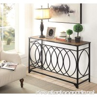 Vintage Brown Finish Black Metal Circle Design Console Sofa Table - B0778ZRYVT