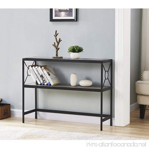 Weathered Grey Oak Metal Frame 2-tier Console Sofa Table with Circle Design - B07D454JNV
