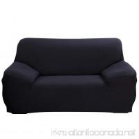 DIFEN Black Loveseat 2 Seater Stretch Elastic Polyester Spandex Slipcover - B079DM2VH5