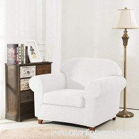 Fassbel Jacquard Couch Cover 2-Piece Stretch Spandex Sofa Slipcovers for Living Room (Chair  Off-white) - B07C8GR6KM