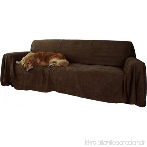 Floppy Ears Design Simple Faux Suede Couch Cover Protector (XXL for Extra Long Couches Chocolate) - B01DUVBXUQ