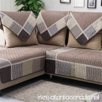 OstepDecor Multi-size Pet Dog Couch All Seasons Quilted Cotton Furniture Protectors Covers for Sofa Loveseat | Backing and Armrest Sold Separately | Coffee & Grids 36 W x 70 L (90 x 180cm) - B01DLYBKVE