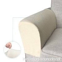 REALYOU Anti Slip Stretch armrest cover for fabric and leather couch set of 2 (Beige Chair/Recliner) - B07DCPLPS4