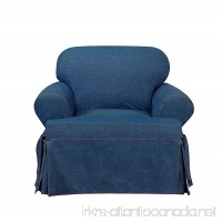 Sure Fit Authentic Denim One Piece T-cushion Chair Slipcover - Indigo - B07629ZJQY