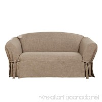 Sure Fit Textured Linen Box Cushion Loveseat Slipcover - Sand (SF44991) - B079ZN39QZ