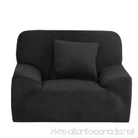 uxcell Velvet Plush Sofa Cover Chair Loveseat Couch Slipcover  Machine Washable  Stylish Furniture Protector Covers with One Cushion Case (1 Seater  Black) - B01MZIJT8T