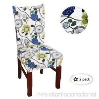 Argstar 2pcs Chair Covers for Dining Room Spendex Slipcovers Blue Flower Design - B077ZVSQ11