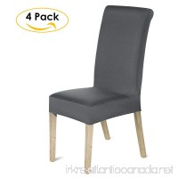 HOMFA Stretch Dining Room Chair Slipcover Washable Polyester Spandex Seat Furniture Protector Covers Hotel Ceremony (Deep Gray Set of 4) - B07BYXCPVG