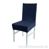 uxcell Stretch Spandex Short Dining Room Chair Covers Velvet Slipcovers Multi-color Chair Seat Covers Navy Blue - B078373SJ5