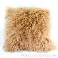 100% Real Mongolian Sheepskin Wool Cushion and Pillow Insert Included Home Decoration For Living Room Bedroom 20X20(beige) - B075FVWS2G