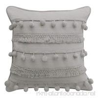 "Boho Living Fiji Pompom Decorative Pillow  18"" x 18""  Light Grey - B07CQBQY57"