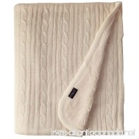 Brielle Cozy Cable Knit Throw with Sherpa Lining 50 by 60 Ivory - B00N2Y8BNO