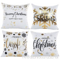 Coolrunner 4PCS pack Throw Pillow Cover Case Gold Stamping Snowflakes 18x18 Inch for Home Office Living Room Sofa Car - B078X77F5X