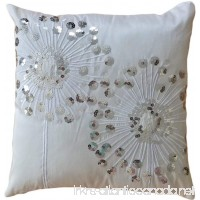 "Decorative Silver Sequins Dandelion Floral Throw Pillow COVER 18"" White Silver - B00F8RO1KA"