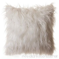Faux Fur Throw Pillow 18x18 With Insert Mongolian Long Hair White - B076M9PCLV