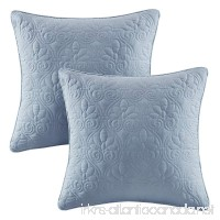 Madison Park Quebec Quilted Throw Pillow  Transitional Square Decorative Pillow  20X20  Set Of 2  Blue - B01HPTZKC6