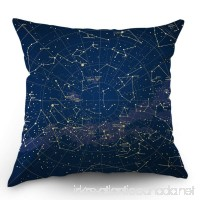 Moslion Star Map Throw Pillow Cover City Light Constellation in Night Sky Cotton Linen Decorative Pillow Case 18 x 18 Inch Standard Square Cushion Cover for Sofa Bedroom Men Women Blue Gold - B07DKVWWX7