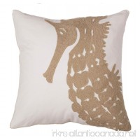North End Décor Coastal Caramel Seahorse Chain Stitch Pillow 18 x 18 (Stuffed Insert Included) - B079VX22Y2