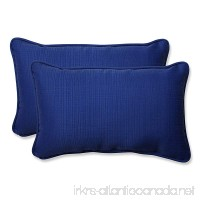 Pillow Perfect Indoor/Outdoor Fresco Corded Rectangular Throw Pillow Navy Set of 2 - B00BU6VFOS