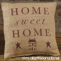Primitive Home Sweet Home 8 x 8 Burlap Decorative Throw Pillow - B079HG1WS1