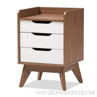 Baxton Studio 3-Drawer Storage Nightstand White/Walnut Brown - B071ZYR6DY