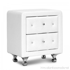 Baxton Studio Stella Crystal Tufted Upholstered Modern Nightstand White - B00HFLXO9G