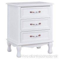Giantex 3 Drawers Nightstand End Table Storage Wood Cabinet Bedroom Side Storage (1 White) - B076Z74YXJ