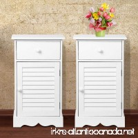 go2buy Bedside Table Cabinets Nightstands with Storage Drawer and Cupboard Units Adjustable Height Shelf in White Set of 2 - B074M52PZQ