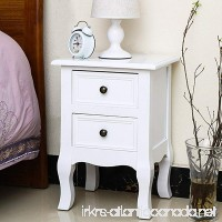 Jerry & Maggie - Nightstand Classic White Loyal Luxury Style - 2 Tier Curving Pattern Sides Night Stand Storage Bedside Table with 2 Drawer Real Natural Paulownia Wood | 4 long legs White - B078N1MNQR