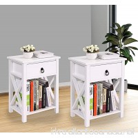 LAZYMOON Set of 2 MDF Nightstand Table X-Design Kids Room End Table Side Table Home Storage White Finish - B078R2WM7T