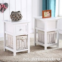 New Pair of Retro White Chic Nightstand End Side Bedside Table w/Wicker Storage Wood - B072FP6Z1X