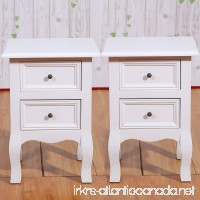 Set of 2 Small Table White Wood Bedside Table End Side Table with 2 Drawers for Small Room 11.81x11.81x19.69in(2 drawer) - B07FDF7578