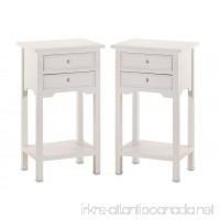 Set of 2 Wood White End Tables Nightstands with Two Drawers - B002Q88AS8