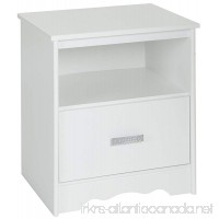 South Shore Tiara 1-Drawer Nightstand  Pure White with Decorated Handle - B016VE4NBU