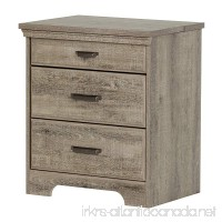 South Shore Versa Nightstand with 2 Drawers and Charging Station  Weathered Oak - B06W54LFCJ