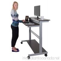 48 Shelves Mobile Ergonomic Stand Up Desk Computer Workstation (Dark Walnut Shelves/Silver Frame) - B00M339L98