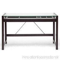 Baxton Studio Idabel Dark Brown Wood Modern Desk with Glass Top - B006W3CKKW