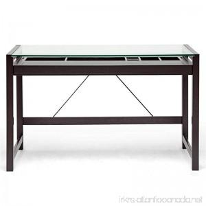 Baxton Studio Idabel Dark Brown Wood Modern Desk with Glass Top - B006W3CKKW