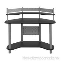Calico Designs 55123 Study Corner Desk  Silver with Black - B00DNH6JI4