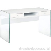 Coaster Contemporary Glossy White Writing Desk with Glass Sides - B014KPUEGK