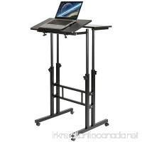 DOEWORKS Mobile Stand Up Desk Height Adjustable Computer Work Station Home Office Desk With Wheels Black - B078V36TFG