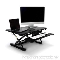 Essentials Sit to Stand Desktop Riser - Adjustable Standing Desk with Keyboard Tray 22 x 35 Black (ESS-5136-BLK) - B072JCVKNJ
